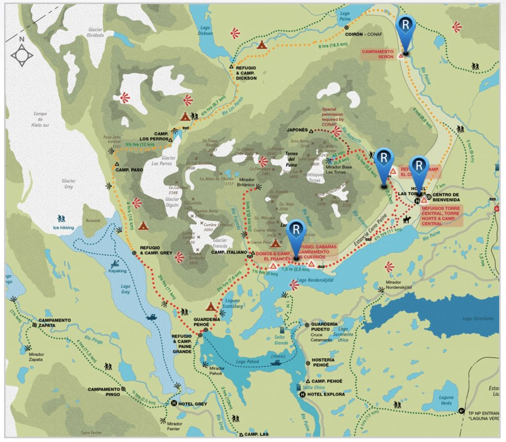 map of Torres del Paine in Patagonia