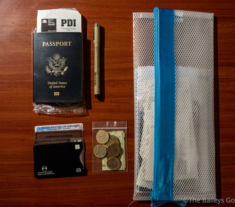 Patagonia packing list administrative essentials: Passports, cash, cards, reservations.