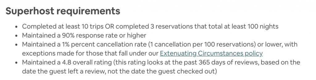Listing Qualifications to be a Super Host with Airbnb if you are looking for discounts.